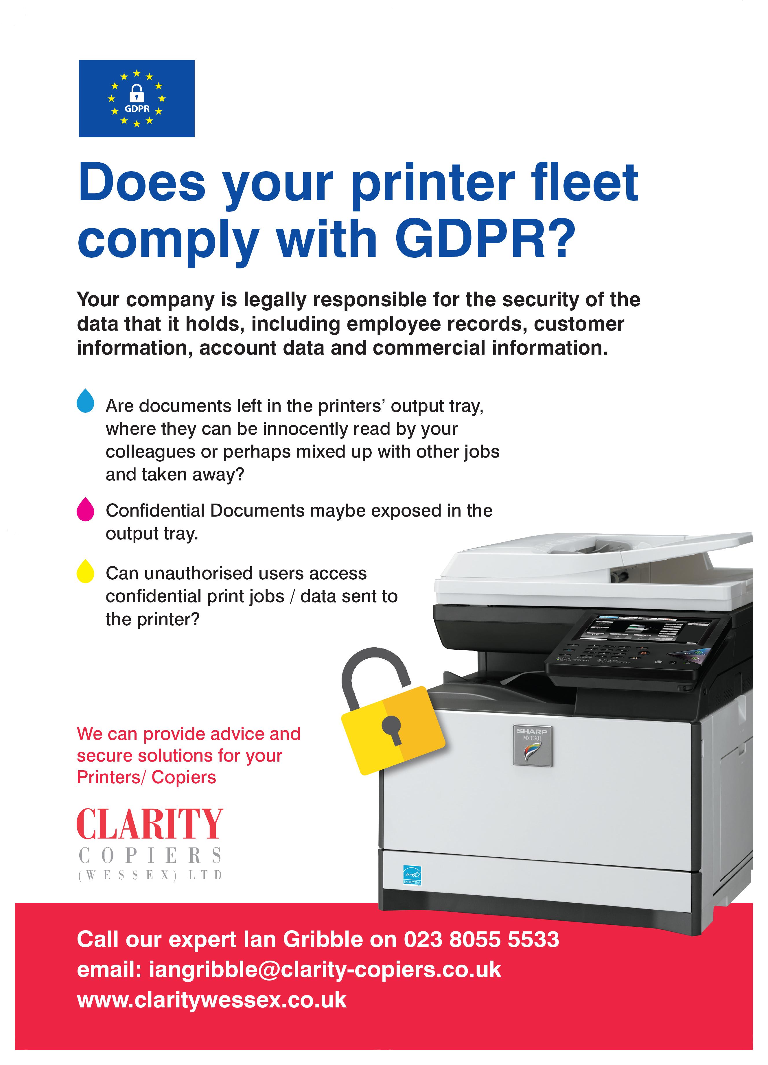 Clarity Copiers Wessex LTD GDPR leaflet